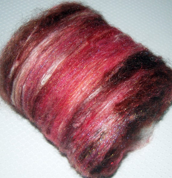 Spinning Fiber, Hand Drum Carded, Wool Roving, Alpaca Fiber and Silk in Oxblood and White 2.85 oz.