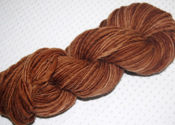 Bulky Yarn, Sale - Bulky HandSpun Yarn, Hand Dyed BFL Wool, Brown - SALE Yarn 3.7 oz. 142 yards