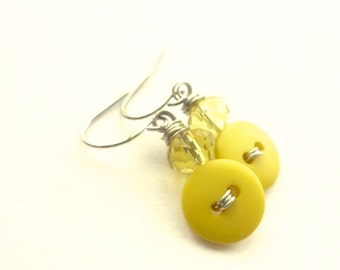 Small Canary Yellow Bright Button Earrings