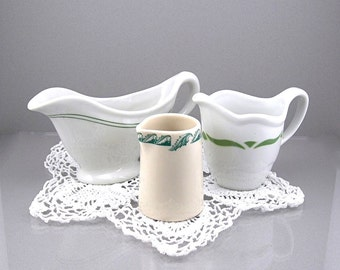Restaurant Ware Ironstone China Cream / Gravy Pitchers, White and Green Trim, Vintage Kitchen Dishes, Collectibles