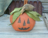 Primitive Halloween Pumpkin with Crow