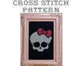DIY Girlie Skull -  .pdf Original Cross Stitch Pattern  - Instant Download