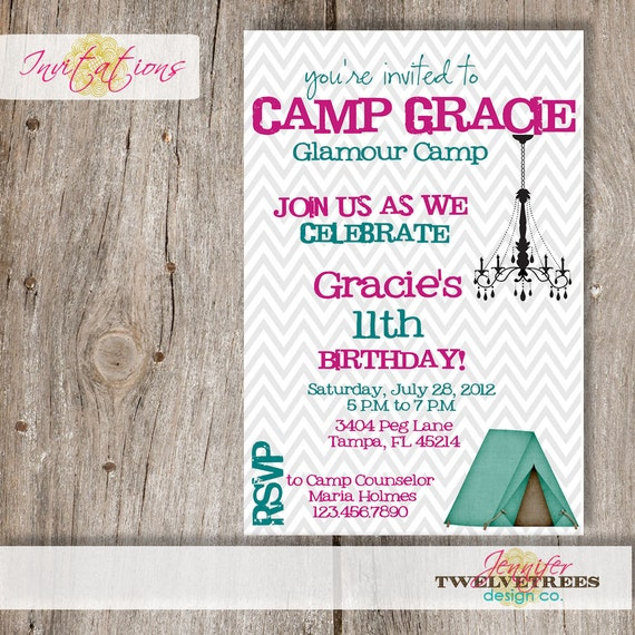 Glamping birthday invitations diy printable or add a for Glamping ideas diy