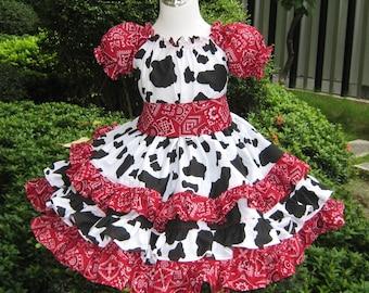 Cowgirl Dress, Triple Ruffle Cowgirl Red Bandana Peasant Dress , Black and White Girl Dress, Country Girl Dress, Girl Red Bandana Dress