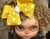 dolly molly YELLOW and white dot bow for blythe doll