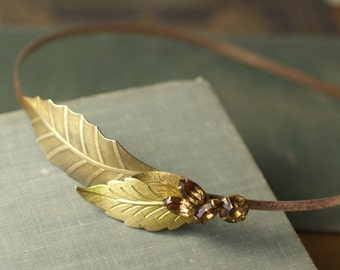 Leaf headband vintage brass jewel grecian bridal topaz yellow champagne wedding hair accessory