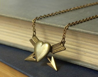 Arrow heart locket necklace vintage brass retro love Valentines Day