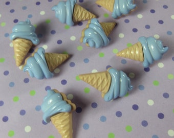 Blue Soft Cream Cone Novelty Buttons