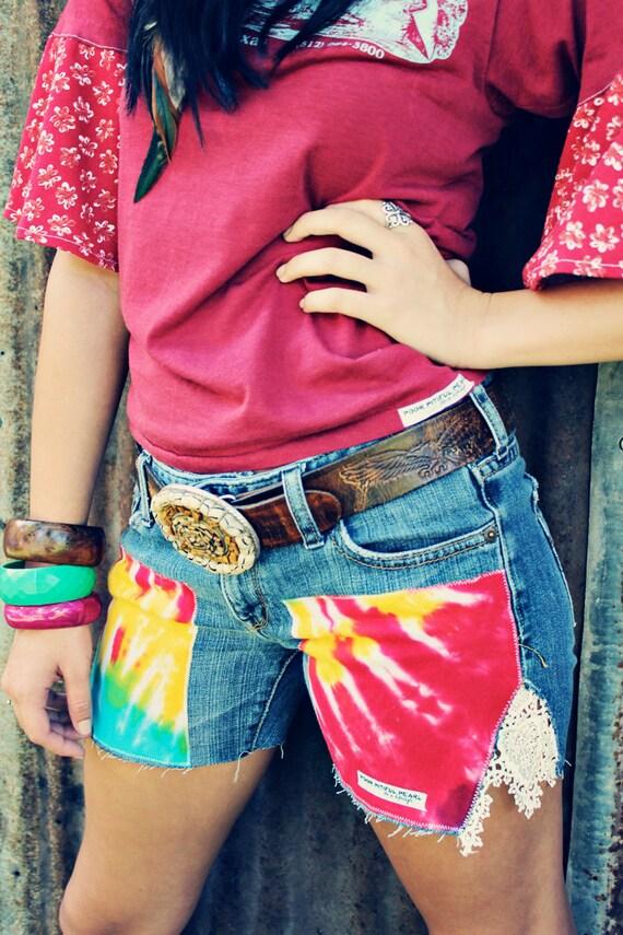 Poor Pitiful Pearl Tie Dye & Lace Jean Shorts