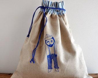 underwear bag  Le Solitaire (linen fabric) travel laundry bag  mens underwear bag
