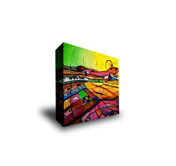 12x12 Gallery Wrapped Giclee Print on Canvas of a Yellow and Green Sunset