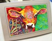 greeting card print of original art- cow  Zentangle
