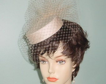 Pillbox  Birdcage Veil Wedding Hat Silk Dupioni  - Ready to Ship