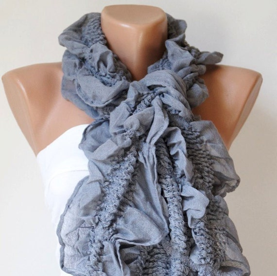 Winter Accessories, Grey Scarf, Ruffle Scarf from %100 cotton with tassel - Winter Scarf