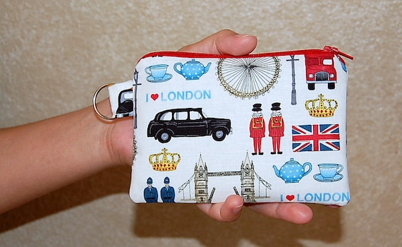 I Love London  - Small Zipper Pouch / Cell Phone Gadget Holder