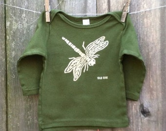 Infant Long Sleeve Olive Dragonfly Tee 3-6m, 6-12m, 12-18m, 18-24m