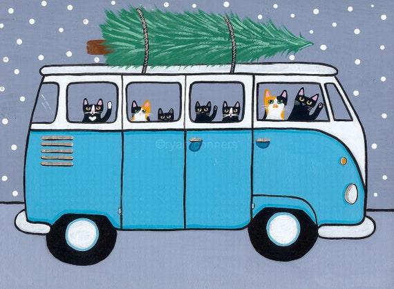 Turquoise VW Bus Christmas Cats Original Folk Art Painting