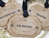 Luxury Candy Buffet Tags - Midnight/Navy Blue - Or Your Ribbon Color Choice and Your Wording