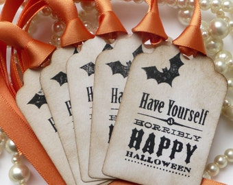 Halloween Tags - Treat Bag Vintage Labels - Halloween Candy Buffet - Set of 5