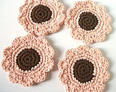 Coasters or Face Scrubbies, Set of 4 brown and light rose