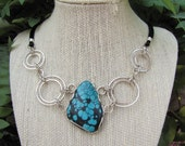 Modern Tibetan Turquoise Necklace - Sterling
