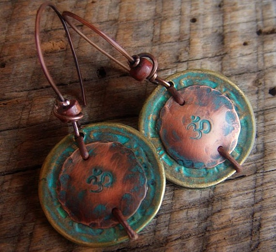 Brass Coins and Copper Aum Beaded Earrings