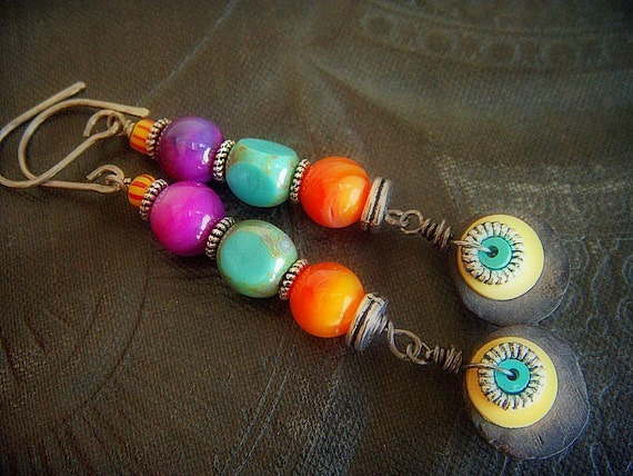 Shell, Glass and Coco-Nut Beaded Earrings