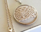 Linen and Lace, Textile Pendant, Feminine, Ivory Lace, Sterling Silver Chain, Silver Pendant