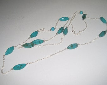 Sterling Silver chain, Turquoise and Sterling Silver Long Necklace