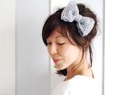 SALE Crochet Bow Hair Band Dove Grey