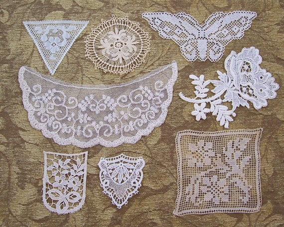 RESERVED-Vintage and Antique Lace Flourish, Applique Collection...early to mid 1900's...embellishment lot for crazy quilts, collage