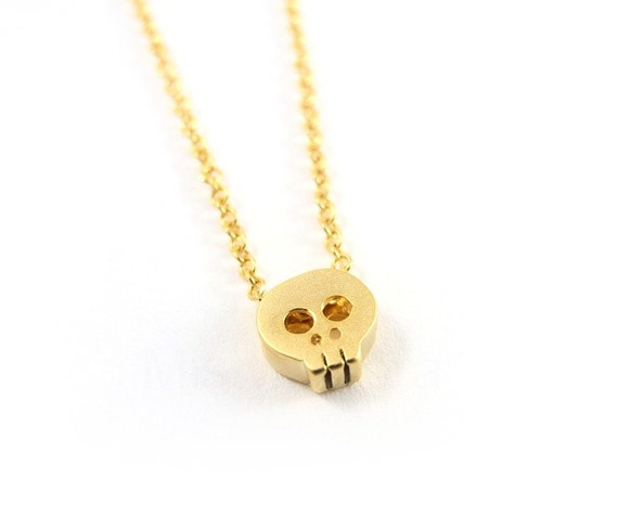 Skull Necklace - Tiny Skull Chain Necklace - Skull Jewelry - Gold Plated Necklace