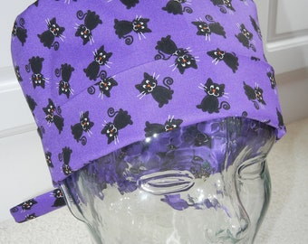 Tie Back Surgical Scrub Hat with Black Cats on Purple