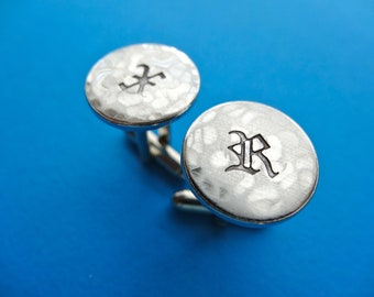 Initial Cuff Links - Personalized Aluminum Cufflinks - Old English - Hammered Weathered Texture