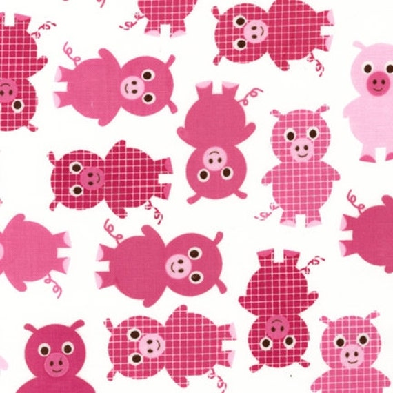 Girl Urban Zoologie and Remix Fabric by Ann Kelle for Robert Kaufman, Zoologie Pigs in Pink-Fat Quarter