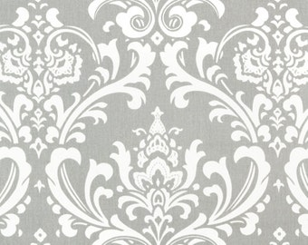 Custom for sparkler2008 Grey Damask with Baby Pink & White Accent Boutique Crib Nursery Bedding Set with Ruffles