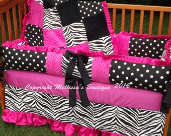 Custom Hot Pink Black And White Zebra Ruffled Crib Bedding Complete 4-Piece Set CHOICE & CUSTOMIZE