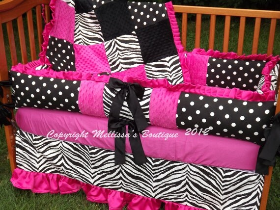 Custom Hot Pink Black And White Zebra Ruffled Crib Bedding