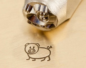 Design Stamp - OINKY the PIG - 6mm stamped image by ImpressArt -  includes How to Stamp Metal tutorial