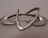 Vintage Modernist Sterling Boomerang Pin by Helen Adelman Rare Designer
