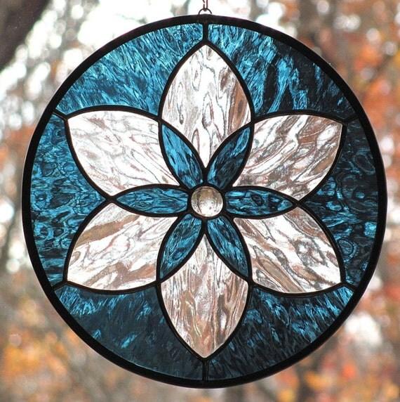 Steel Blue Stained Glass Star Mandala Suncatcher