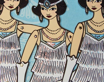 Original Fully Assembled Articutlated 1920s Flapper Paper Doll