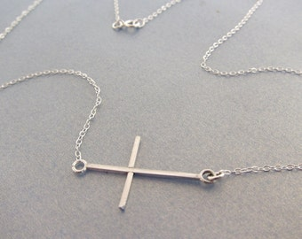 Delicate Lightweight Handmade Religious Cross Pendant Sterling Silver Necklace