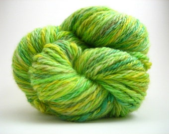 Handspun Yarn – Hand Dyed Superwash Wool – 3 Ply Aran Weight Yarn – Greens – 100 Yards