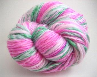 Handspun Yarn – Hand Dyed Merino/Bamboo Fiber – DK Weight Singles Yarn – Bright Pink and Green – 160 Yards