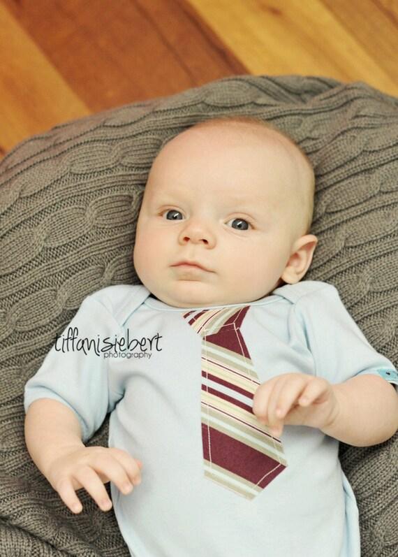 BABY BODYSUIT with a Burgundy striped NECKTIE applique.......... Great baby Shower Gift