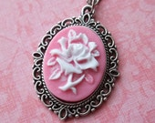 White and Pink Rose Cameo Necklace
