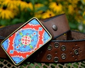 The Magda Belt - VIbrant Blue and Red Patterned Belt Buckle with Brown Leather Belt