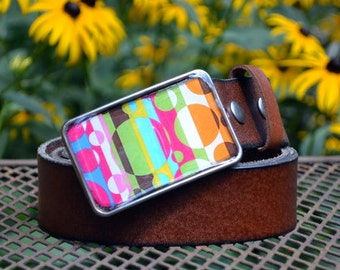 The Stella Belt - Vibrant Mod Buckle with Brown Leather Grommet Belt