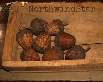 Primitive Acorn  Fall Ornies Bowl Fillers Tucks